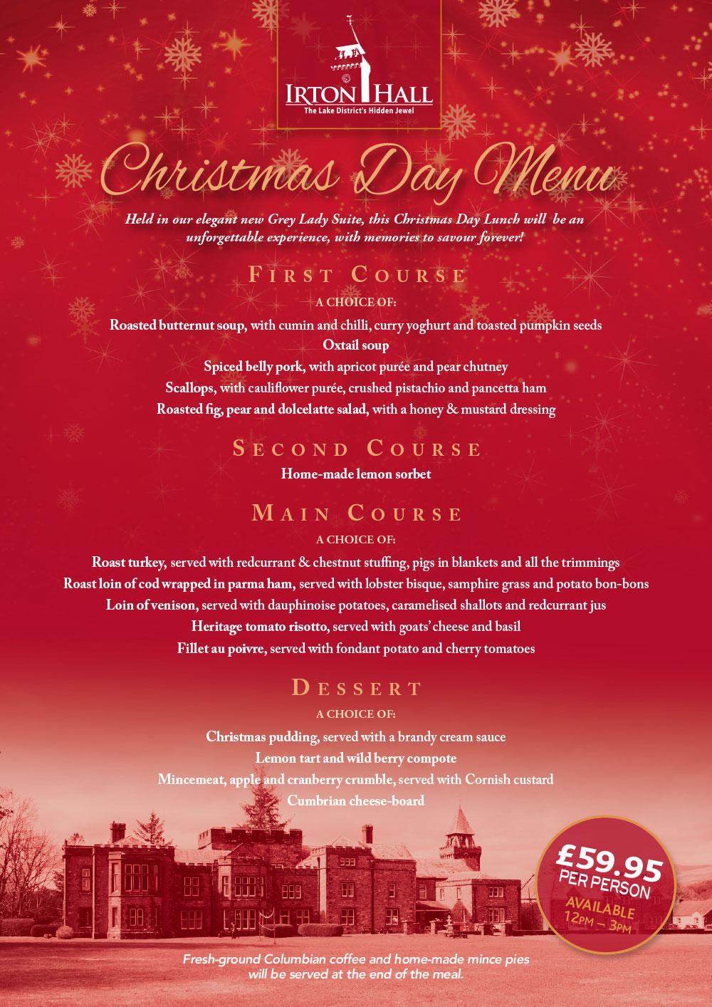 irton hall christmas day menu 2018 - Christmas Day 2018