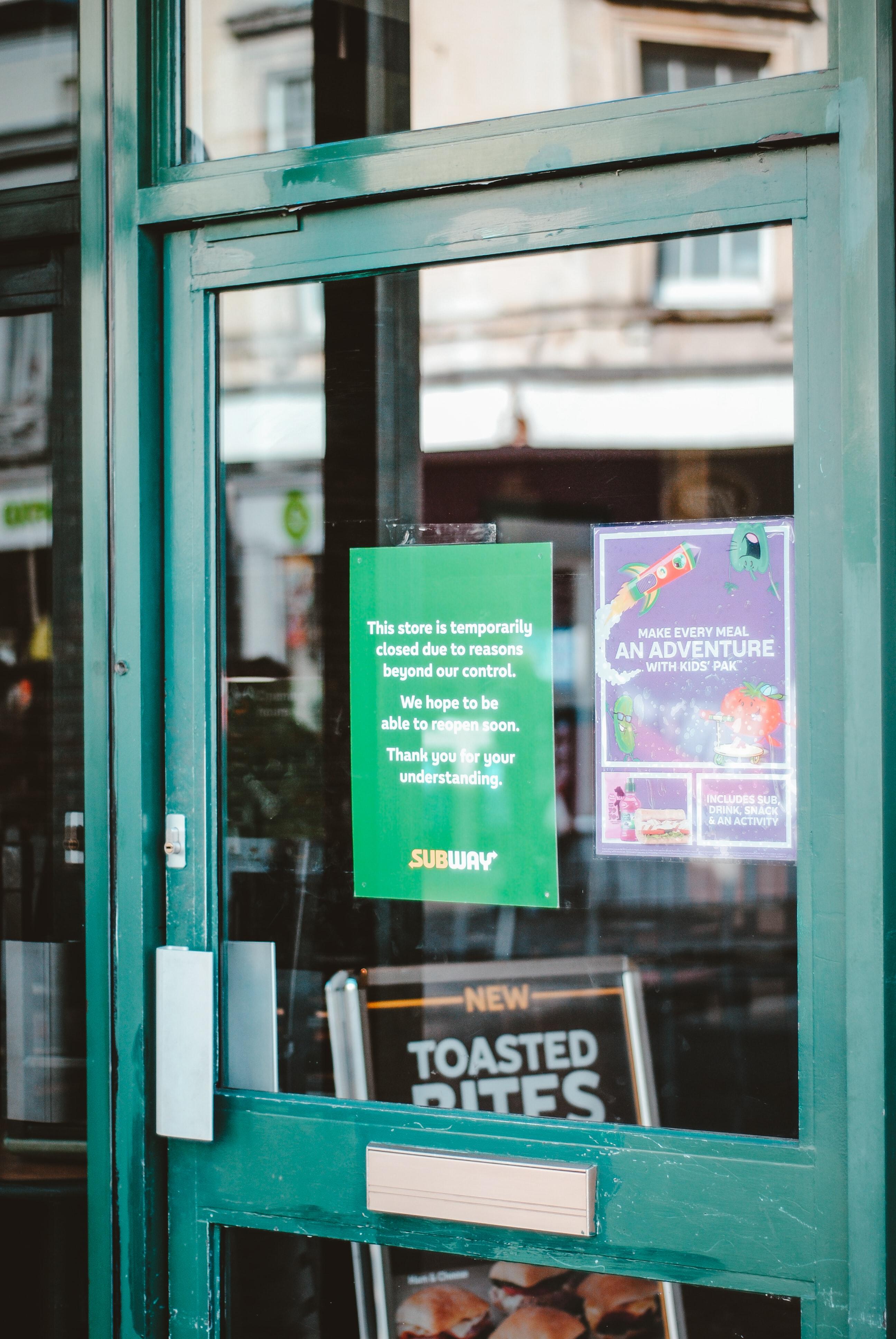 Subway Restaurant Sign Closed