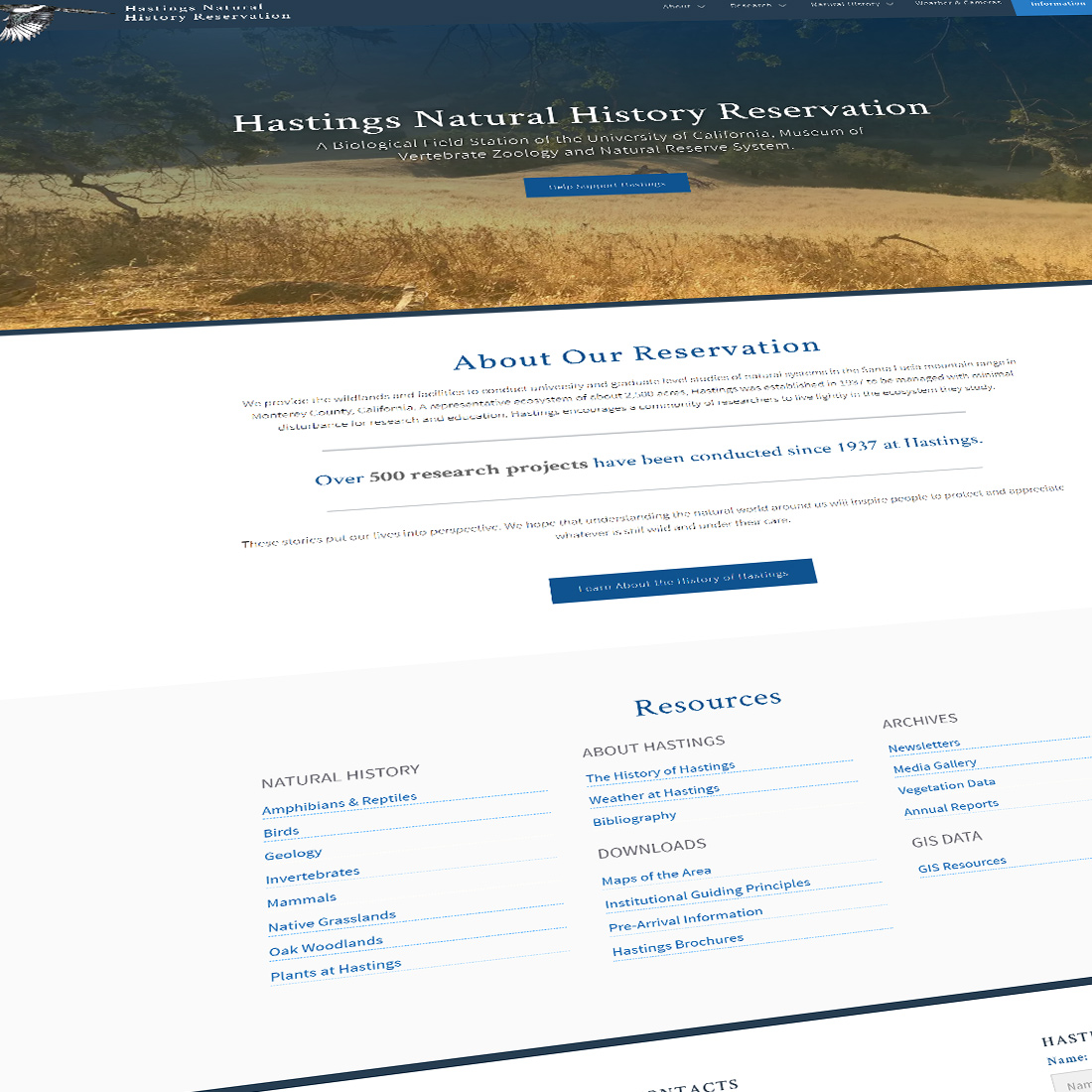 Hastings Natural History Reservation Website