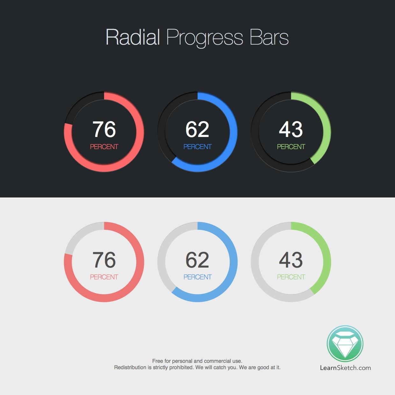 Radial Progress Bars Sketch Freebie