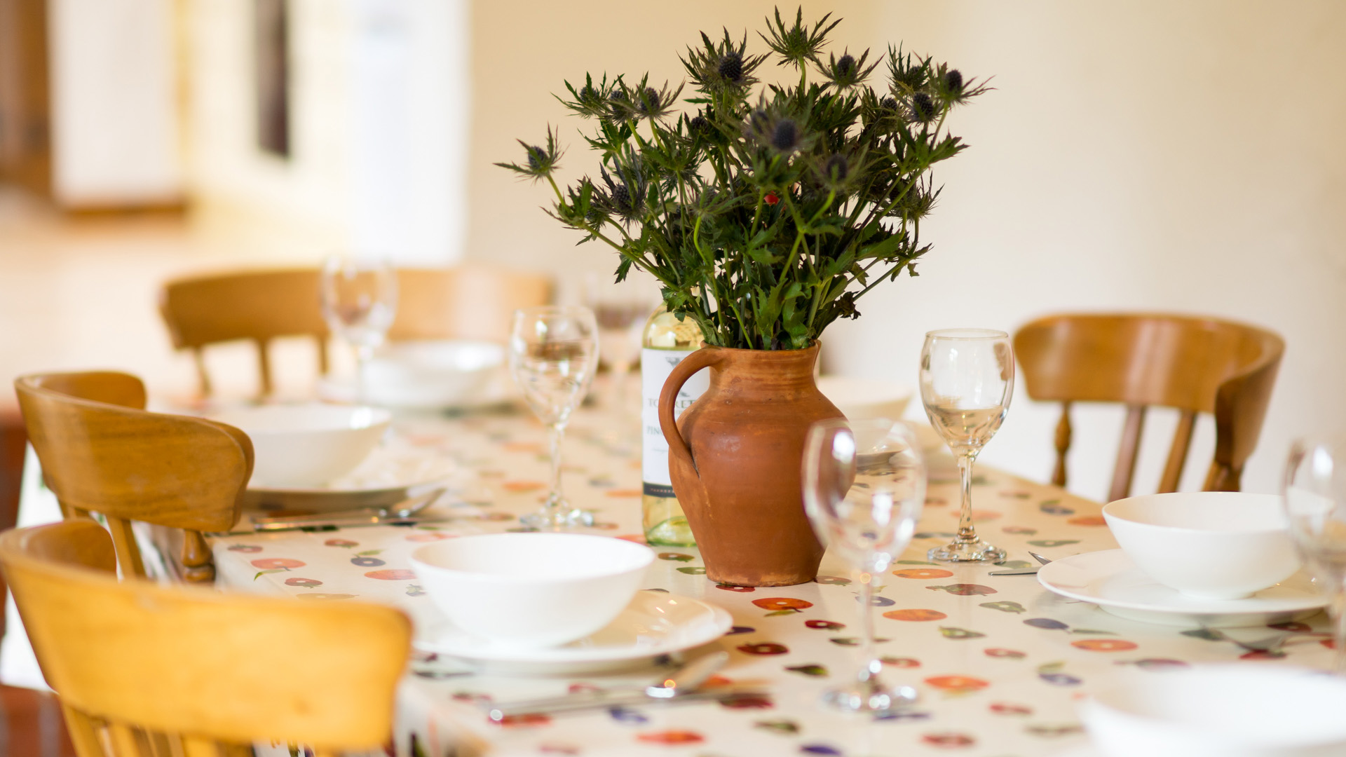 The Byre table and flowers