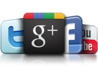 twitter, google plus, facebook, and youtube app logos