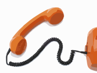 orange corded telephone