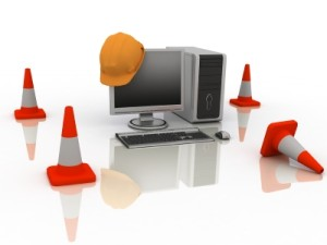 computer with saftey cones around it