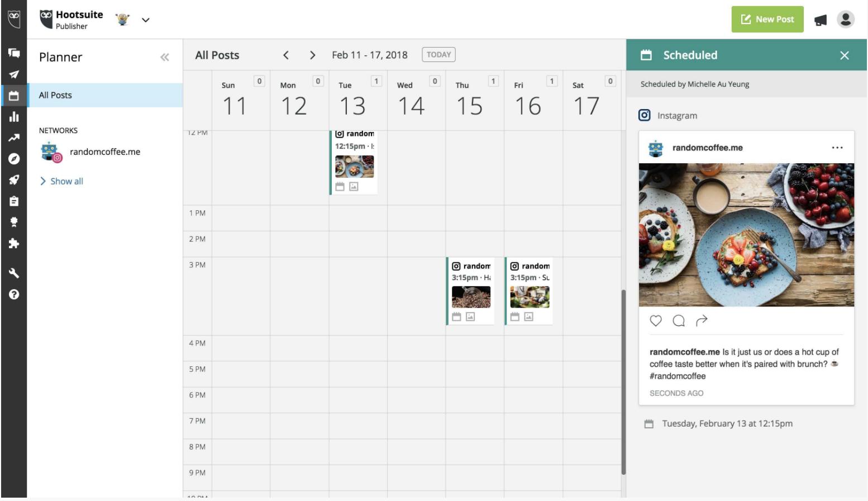 calendar on hootsuite