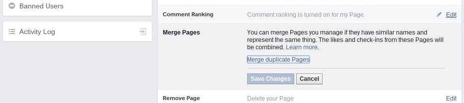 requesting to merge duplicate facebook pages
