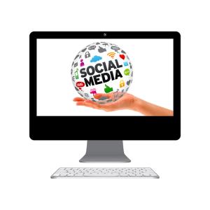 social media globe inside monitor