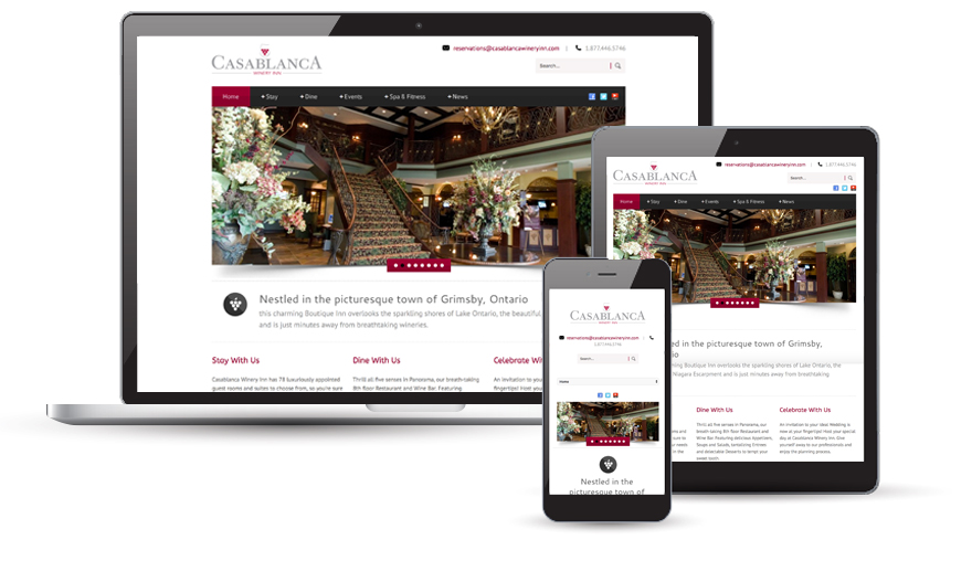 Casablanca Winery & Inn website design  2