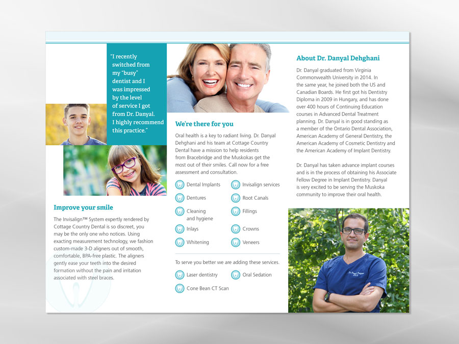 Cottage Country Dental brochure design 2