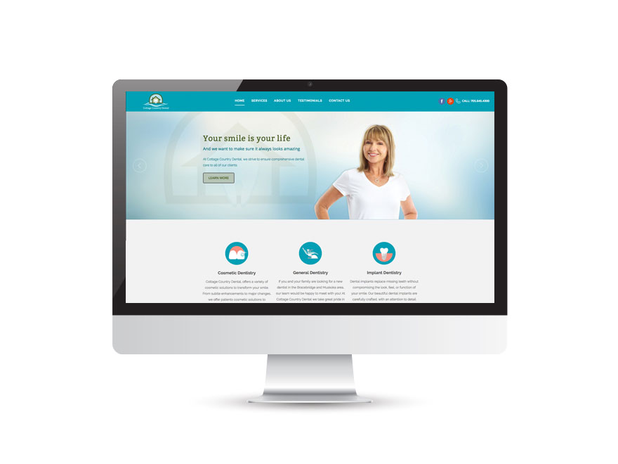 Cottage Country Dental website design 1