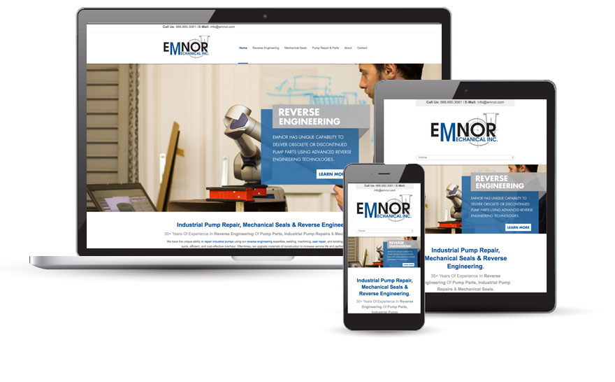 Emnor Mechanical Inc. website design 2