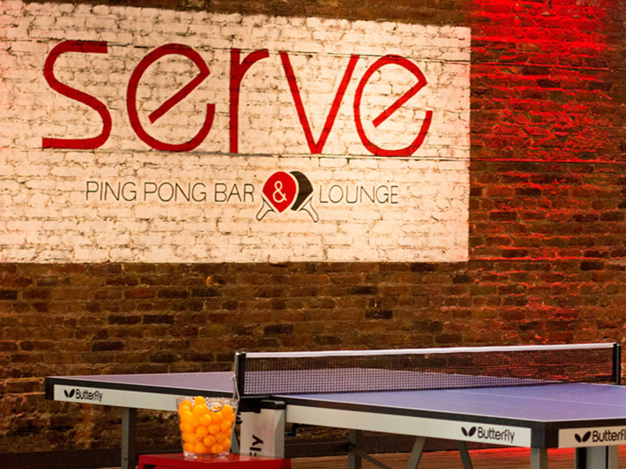 Serve Ping Pong Bar & Lounge inside logo design