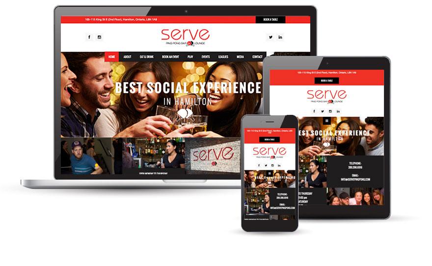 Serve Ping Pong Bar & Lounge website design  2