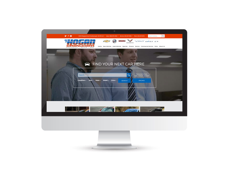 Hogan Chevrolet website design 1