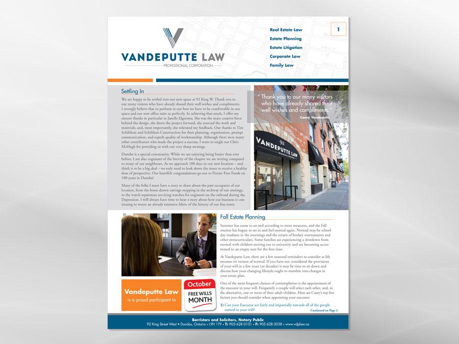 Vandeputte Law newsletter design
