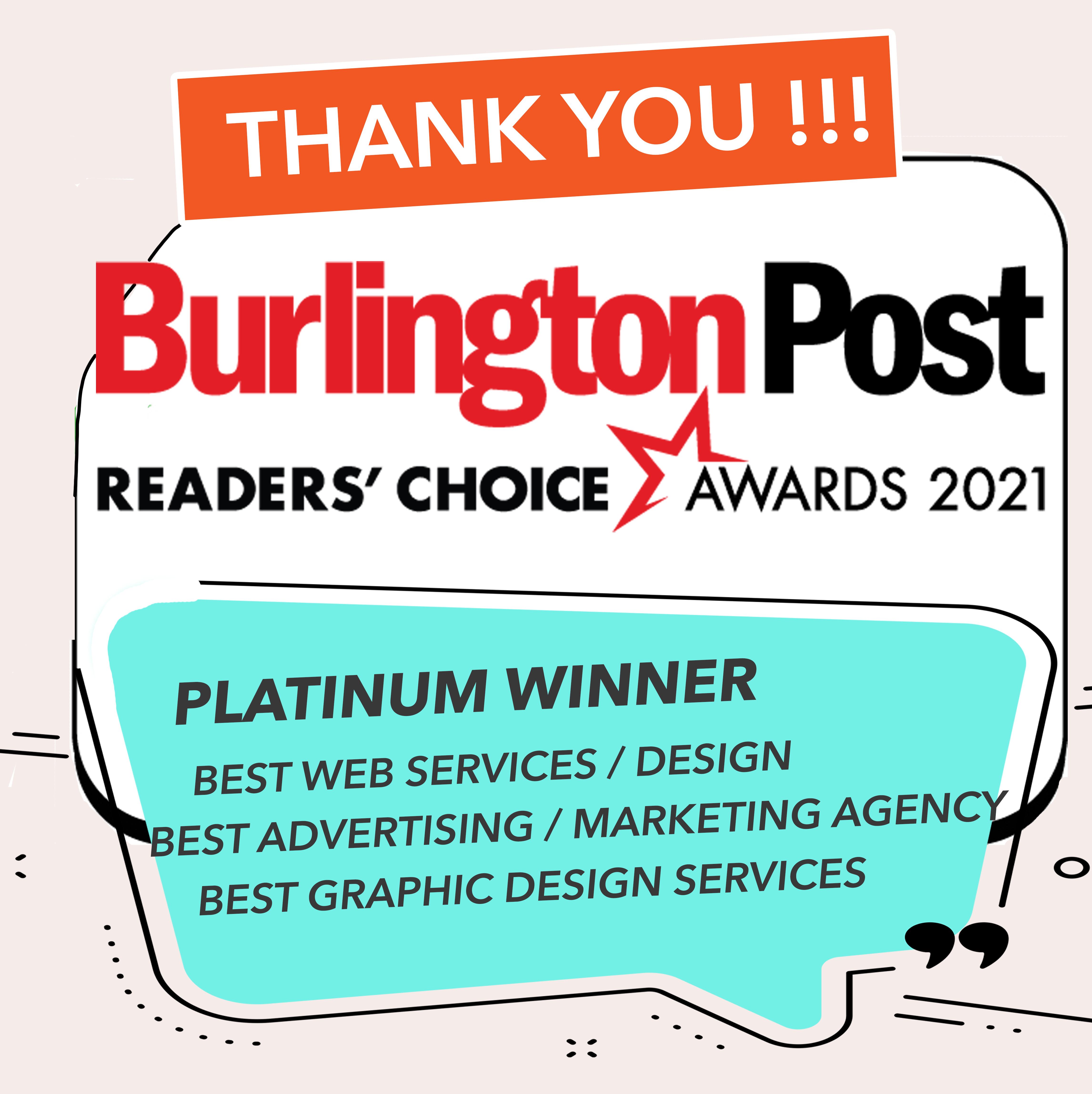 Burlington Post Readers Choice Awards 2021 - Provoke Media & Design - Platinum Winner | Best Web Services/Design | Best Advertising/Marketing Agency | Best Graphic Design Services