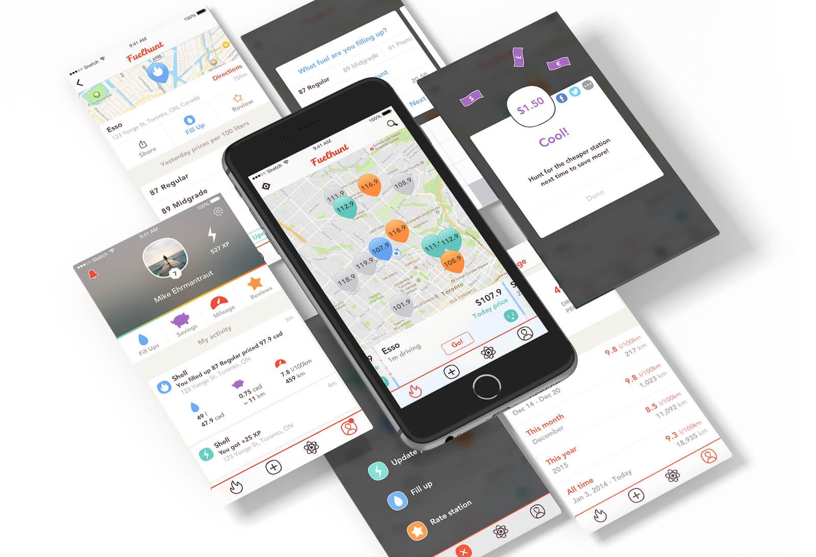 Fuelhunt app screens