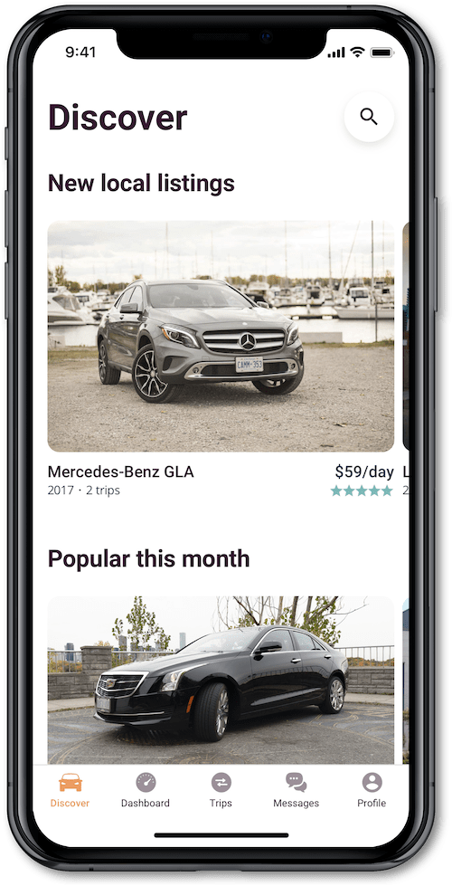 Car-share app featuring Discover screen
