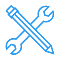 pencil and wrench crossing icon