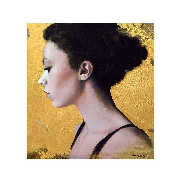 painting of woman with hair tied up on gold background