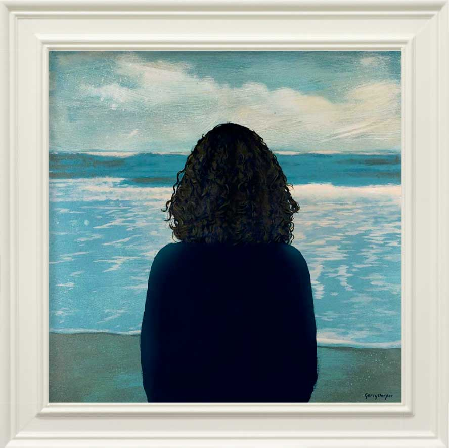 Painting of a woman looking out to sea