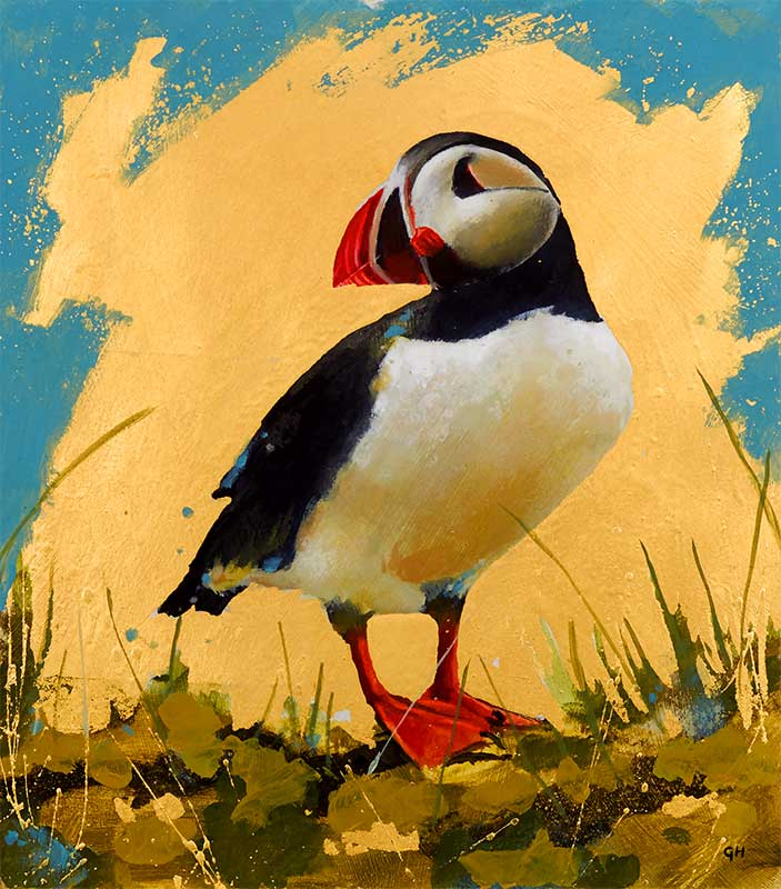 Study of a puffin painted by Garry Harper