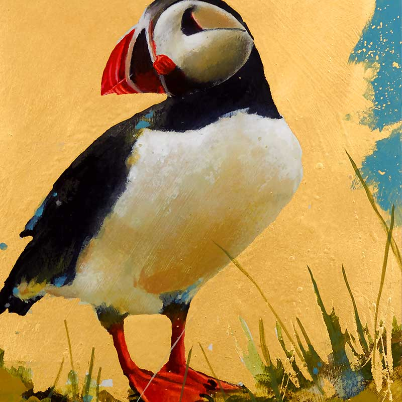 puffin painting on gold background
