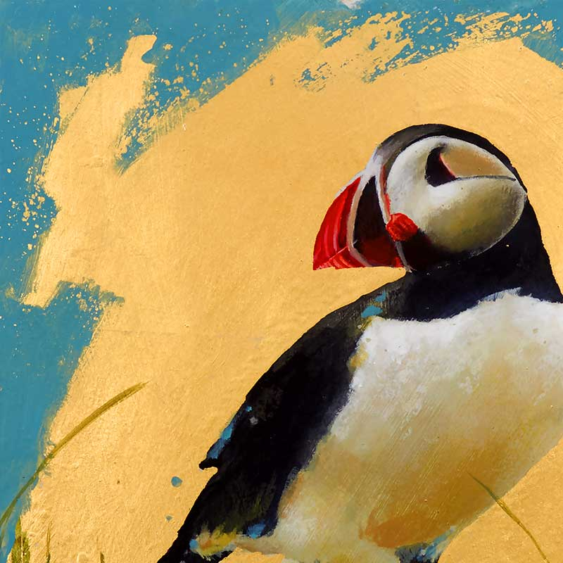 close up of garry harper painting of puffin