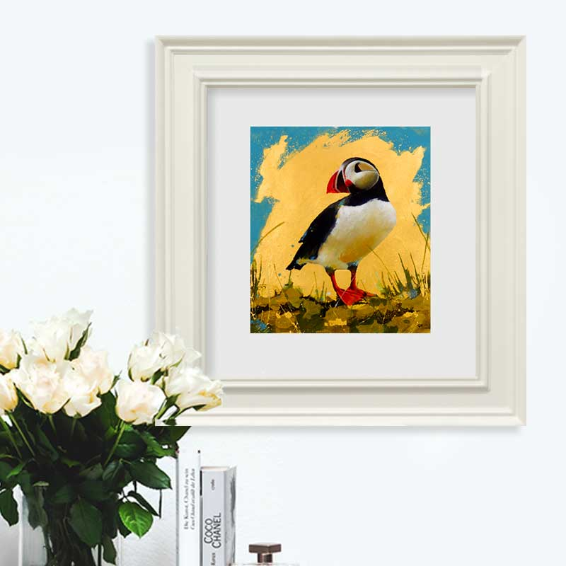 framed puffin painting by garry harper