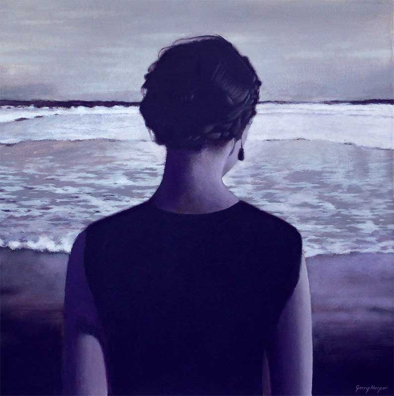 Dark painting by Scottish artist Garry Harper of woman looking out to sea