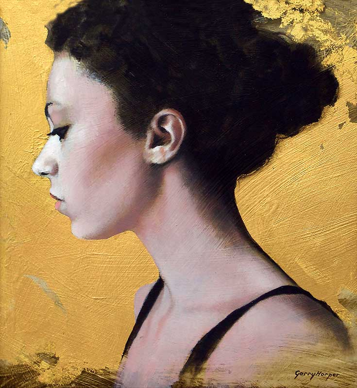 Painting of lady with her hair tied up on gold
