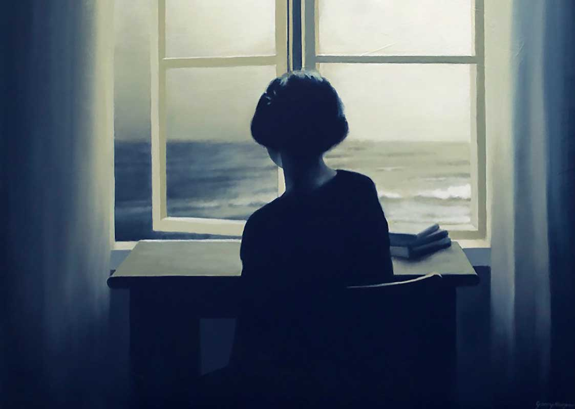 Serene painting of woman looking out window to sea beyond