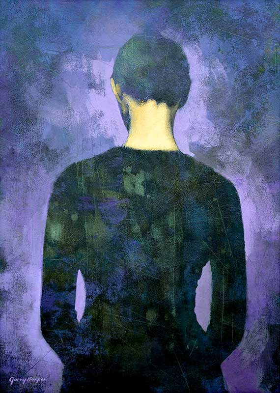 Painting of back view of woman wearing black on purple background