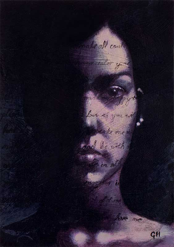 Dark portrait of woman face with love letter superimposed on her face by Garry Harper