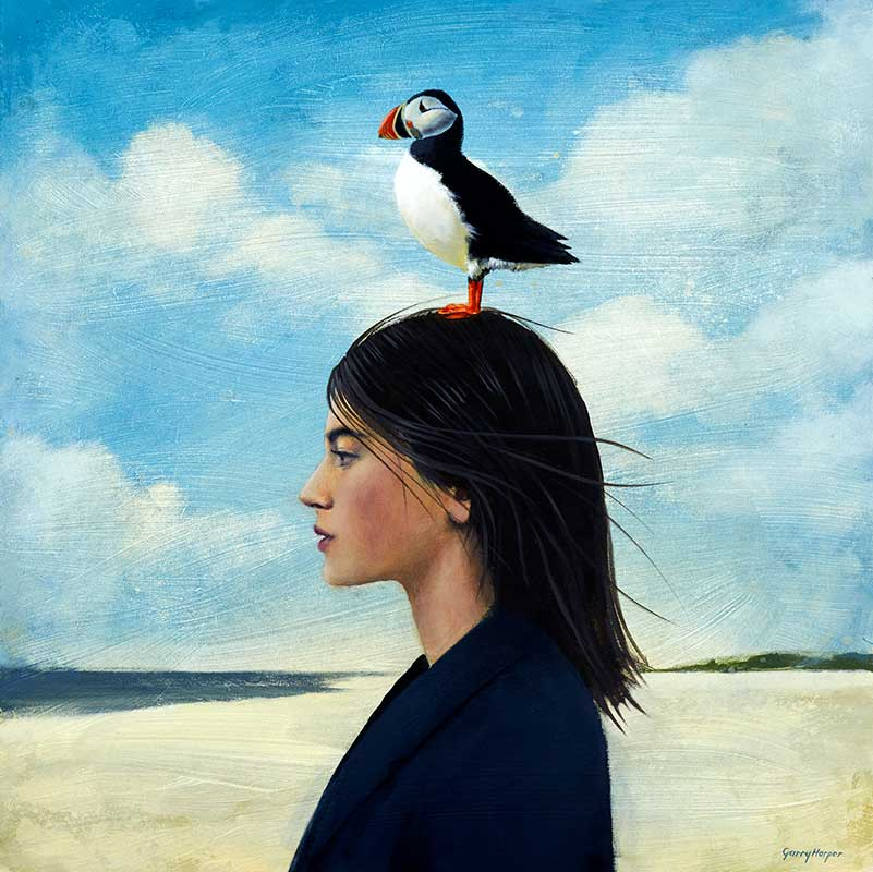 Garry Harper painting of woman on beach with puffin on her head