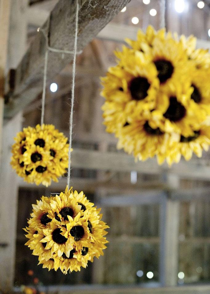 hanging sunflower decorations