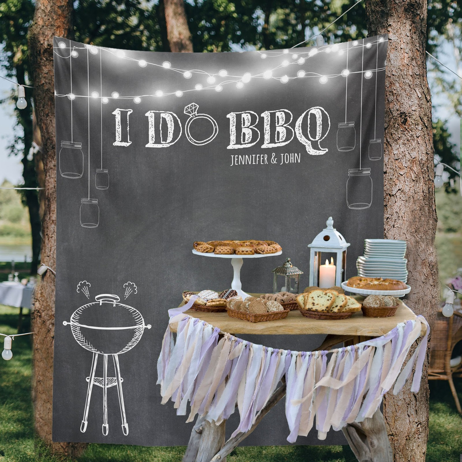 I Do BBQ sign in front of food spread