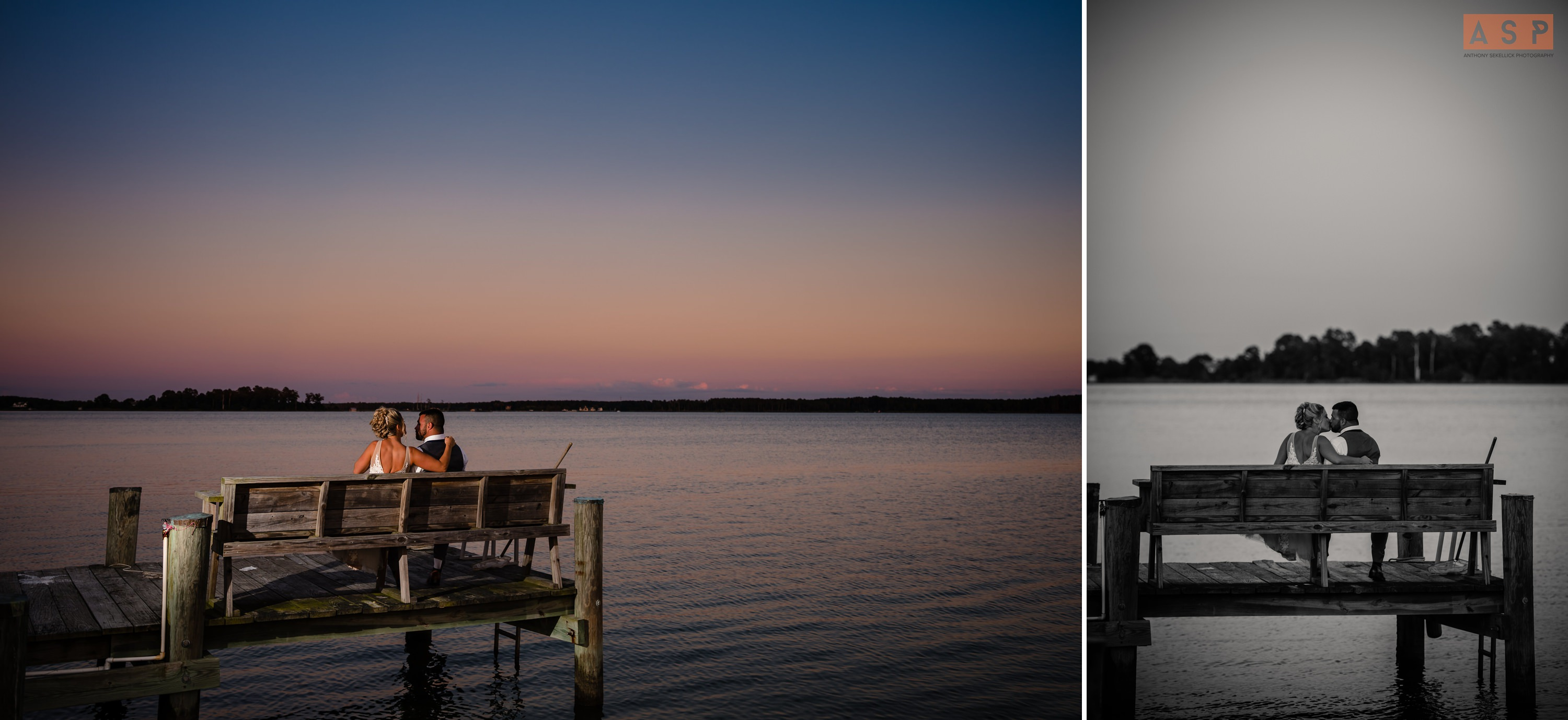 a bride and group sit on abench on a deck enjoying the sunset at swan cove manor in maryland