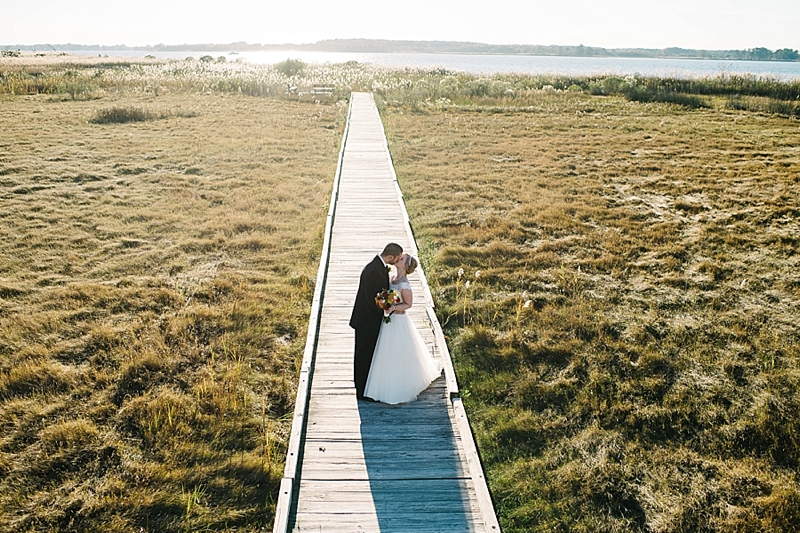 wedding couple on a pier