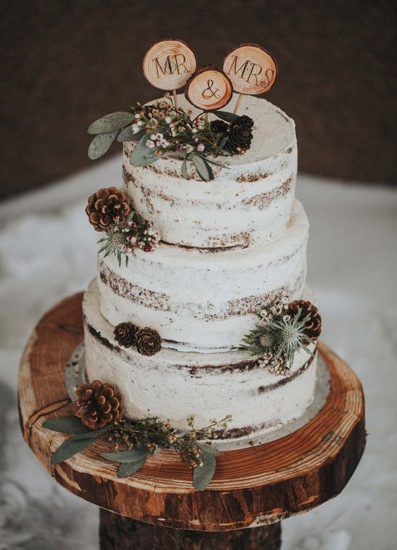 lightly frosted tiered wedding cake