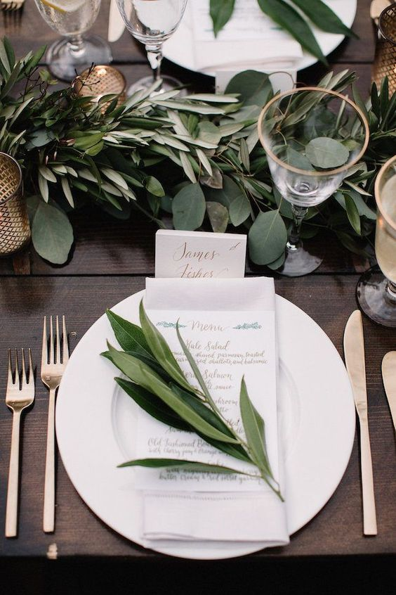 plants and green wedding reception decorations
