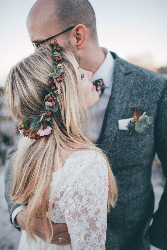 bride wearing holly crown