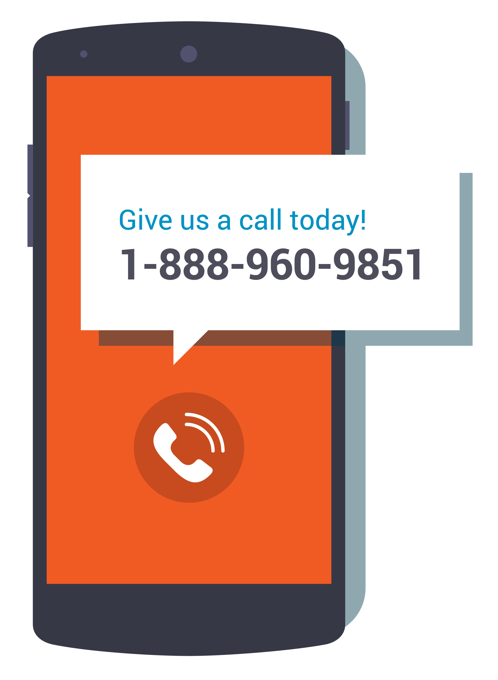 graphic of a mobile phone with text: give us a call today! 1-888-960-9851
