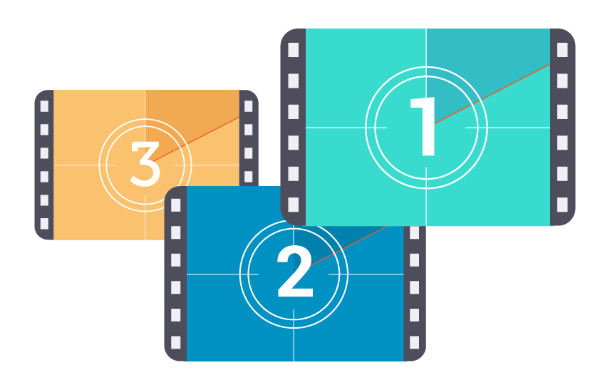 illustration of three video clips in different colours