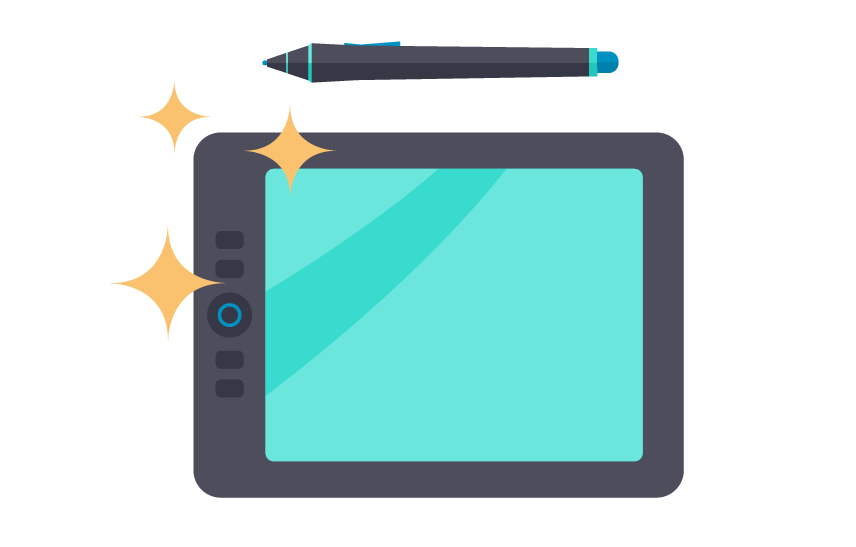 illustration of an animator's graphics tablet and pen