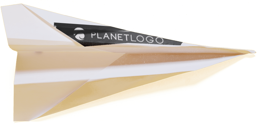 planet logo paper airplane