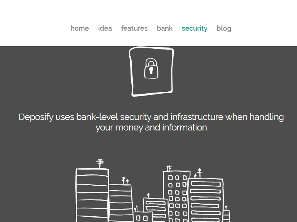 A screenshot of Deposify's website - an Irish fintech startup.