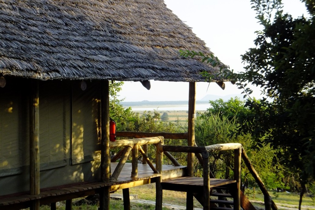 Sangaiwe Tented Lodge is situated across forty acres of hillside wooded with beautiful trees, including indigenous African hardwoods.