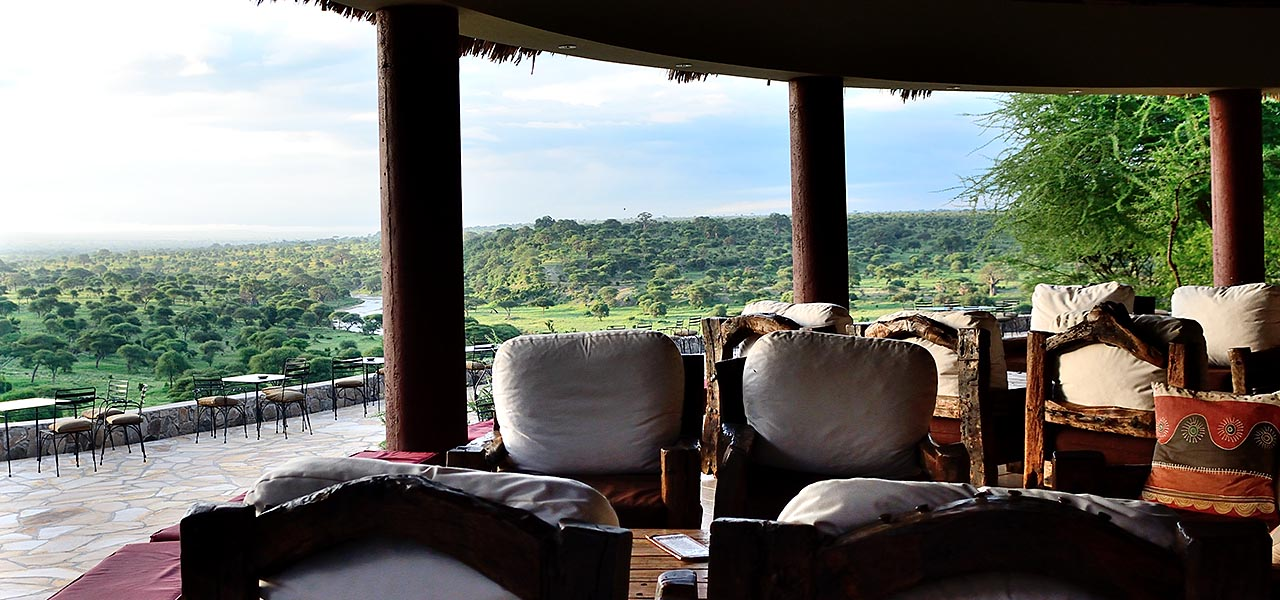 Perched at the edge of a natural bluff, Tarangire Safari Lodge is renowned for its panoramic views of the savannah and Tarangire River below