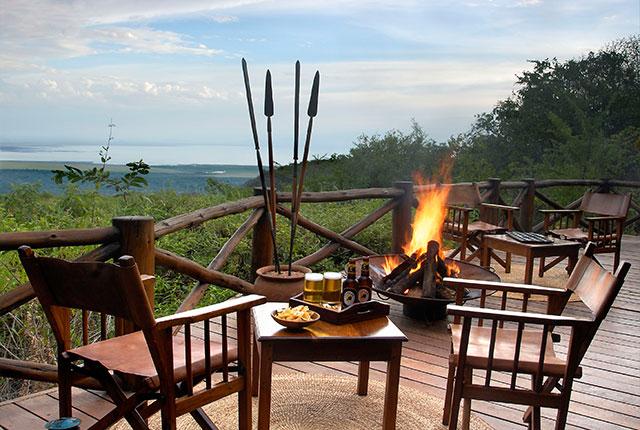 Manyara Lodge overlooks the Rift valley escarpment onver Lake Manyara.